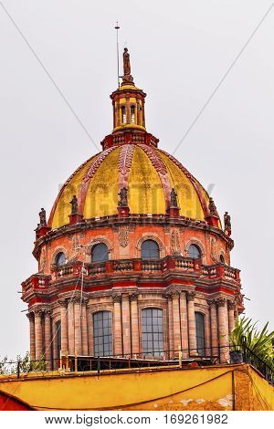 Red Yellow Dome Convent Immaculate Conception The Nuns San Miguel de Allende Mexico. Convent of Immaculate Conception was created in 1754.