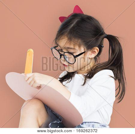 Little Girl Wear Glasses Hands Hold Pencil