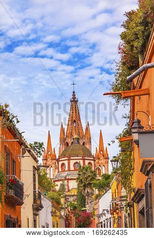 Aldama Street Parroquia Archangel church Dome Steeple San Miguel de Allende Mexico. Parroaguia created in 1600s.