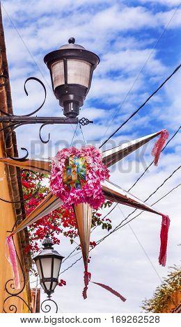 Pink Christmas Pinata Decoration Street Lamps Bougainvillea Aldama Street San Miiguel de Allende Mexico