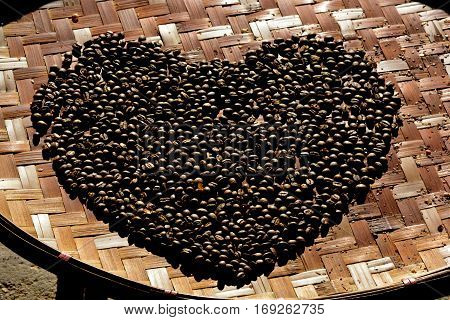 coffee bean of love, roasted arabica coffee beans, can be used as a background