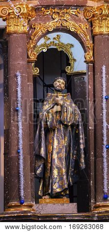 SAN MIGUEL DE ALLENDE, MEXICO - DECEMBER 28, 2014 Saint Francis of Assisi Statue Convent Immaculate Conception The Nuns San Miguel de Allende Mexico. Convent of Immaculate Conception was created in 1754.