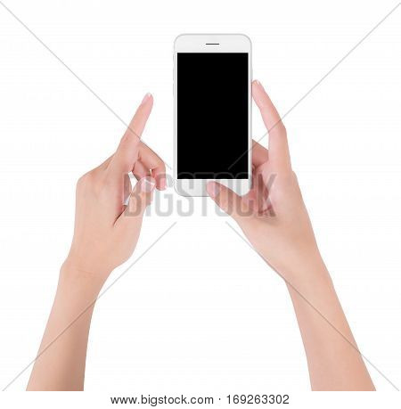 Woman hands holding white smart phone pointing up with index finger and touching on blank screen display digital and communication concept Isolated on white background.