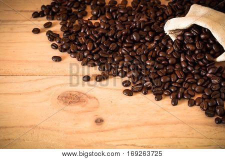 The Arabica And Robusta Coffee Beans With Sack Bag, Selective Focus, Copy Space, Can Be Used As A Ba