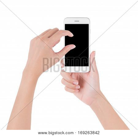Woman hands holding white smart phone touch and pinch for zoom in or zoom out on blank screen display digital and communication concept Isolated on white background.