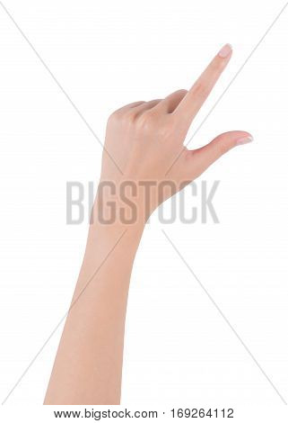 Woman hand holding empty object or pinch to zoom on screen back hand side isolated on white background.
