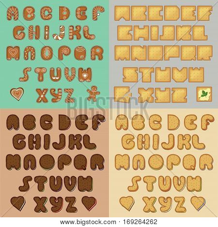Sweet Cookies Alphabets. Artistic Font. Brown gingerbreads with white cream decor. Yellow Crackers. Chocolate and vanilla biscuits. Vector illustration