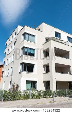 New white multi-family house seen in Berlin, Germany