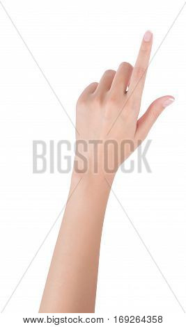 Woman hand pointing up with index finger or touching screen back hand side isolated on white background.