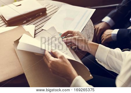Business Report Chart Summary Hands