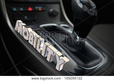 Mobility Gear Shift Car Vehicle Transportation Word 3d Illustration