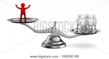 Leadership concept on white background. Isolated 3D image