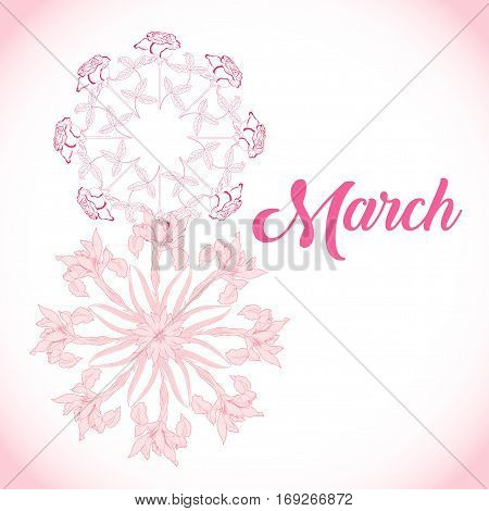 Background for international womans day. Spring flowers hand drawn sketches.  Vector Illustration