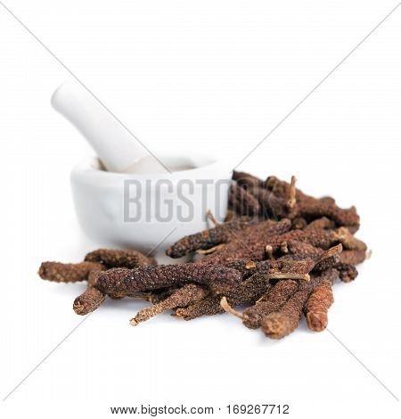 Long Pepper Or Pipli Or Dipli (piper Longum) Isolated On White Background