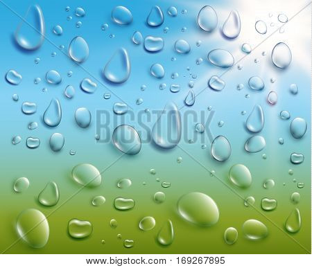 Spring sale background with raindrops and transparent window. Vector EPS10.