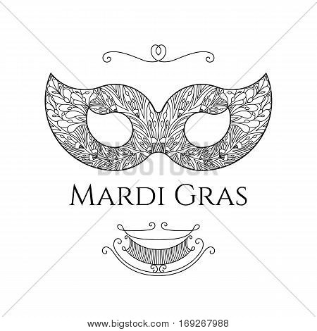 Beautiful lace mask for masquerade Mardi Gras and for the Venice Carnival. Vector template illustration on white isolated background in classical elegant style.