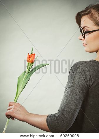 Blonde Woman With Single Tulip.