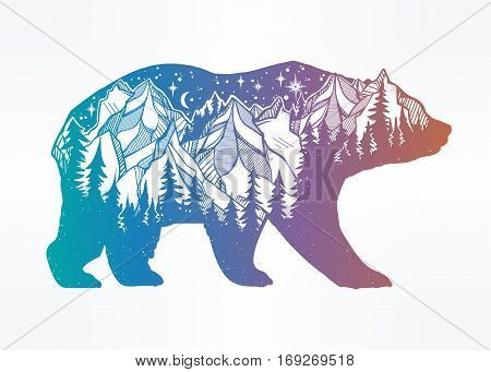 Double exposure, deocrative bear with nature pine forest cones with mountains landscape, night sky. Isolated vintage vector illustration.Tattoo, travel, adventure, wildlife symbol. The great outdoors.