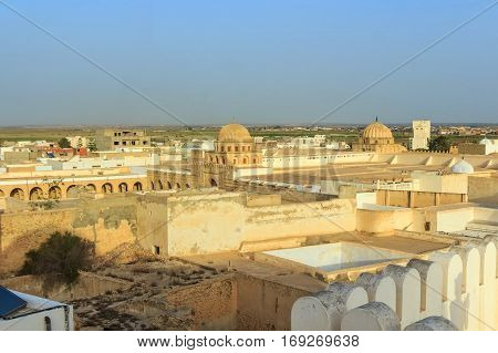 Scenic view to Great Sidi Oqba Mosque in Kairouan, Tunisia