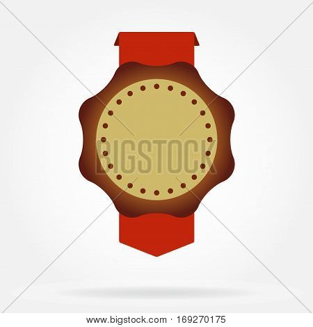 Seal. Wax seal with ribbon and copy space for text. Vector illustration.