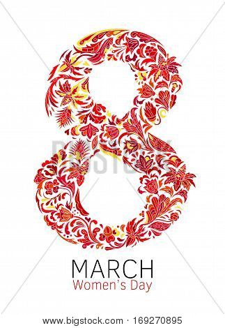 The international women's day on March 8, greeting background with number 8. Hand made vector illustration of beautifully decorated number eight. Red orange colorful pattern
