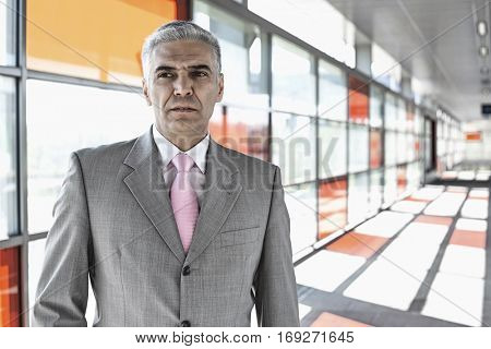Middle aged businessman at railroad station
