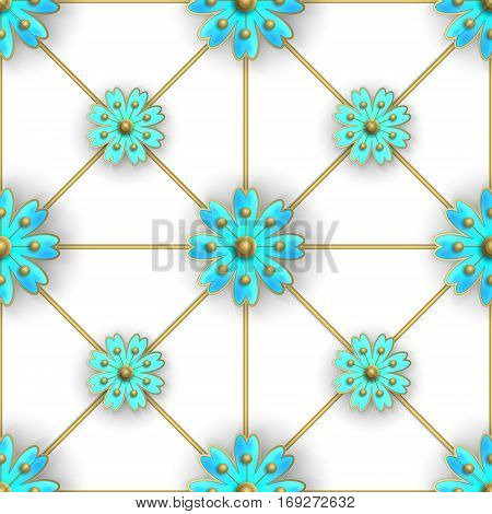 Floral seamless pattern for fabrics, textiles, wallpaper, paper. Vector. Blue stylized flowers on golden greed.