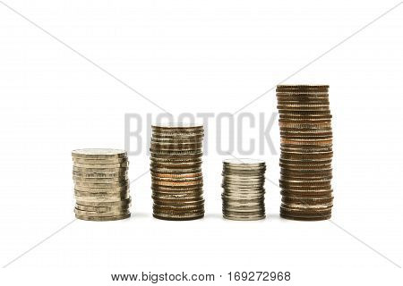 Coin stacks isolated on a white background