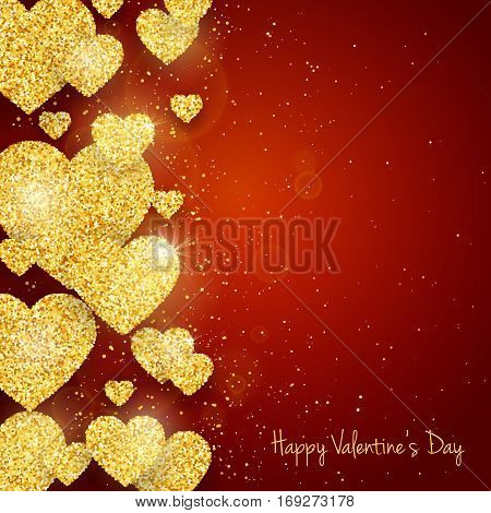 Vector Happy Valentine's Day greeting card with sparkling glitter gold textured hearts on red background.