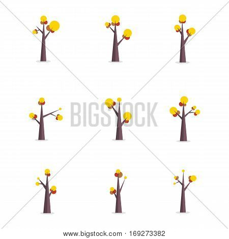 Vector flat of tree style collection stock