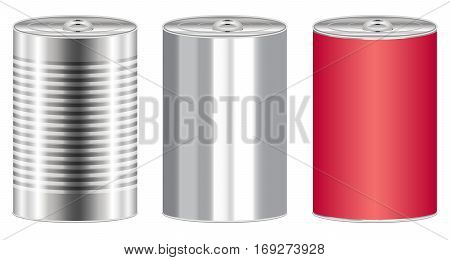 a real stainless steel food can vector
