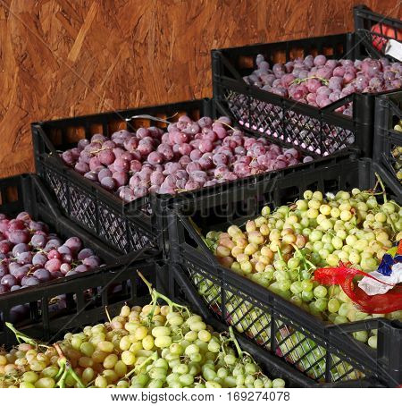 Fresh grapes in plastic crates on market