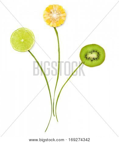 Flowers made of food isolated on white