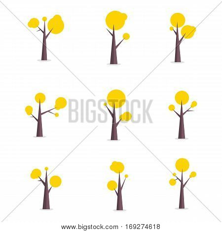 Vector art of yellow tree style collection stock