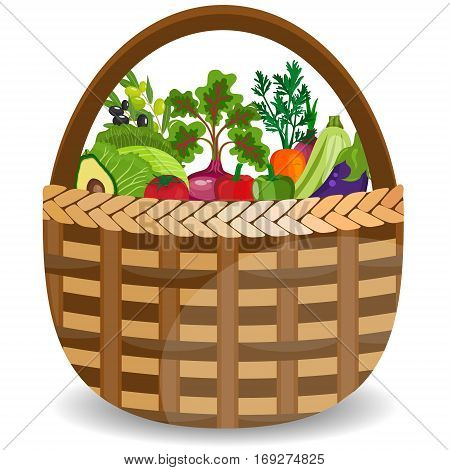 Basket with vegetables isolated on white. Fresh vegetable organic food set still life in basket. Healthy vegetables and vegetarian food banners. Fresh organic food healthy eating