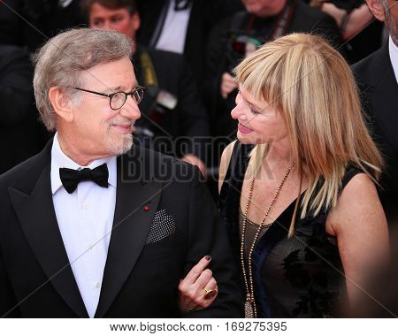 Kate Capshaw, Steven Spielberg attend he screening of 'The BFG' at the annual 69th Cannes Film Festival at Palais des Festivals on May 14, 2016 in Cannes, France.