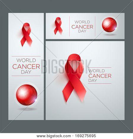 World Cancer Day Awareness Ribbon. Vector illustration.