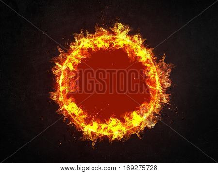 Burning ring of fire with red hot central copy space and showering sparks centered over a dark background