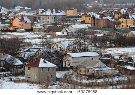 Aerial view.Ukrainian countryside. January 1,2017. Near Kiev, Ukraine