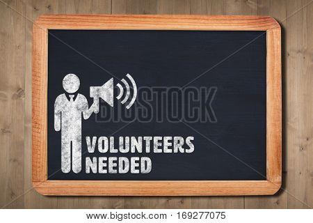 Volunteers needed against chalkboard