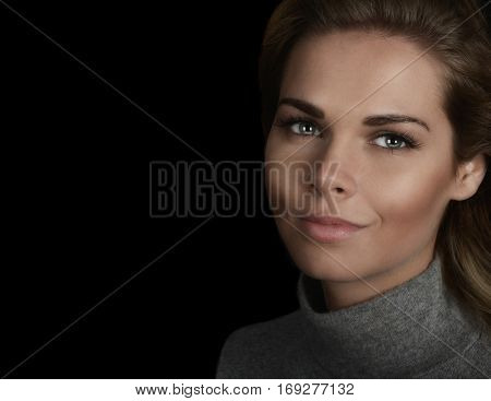 Portrait of a Very Beautiful Woman On Black