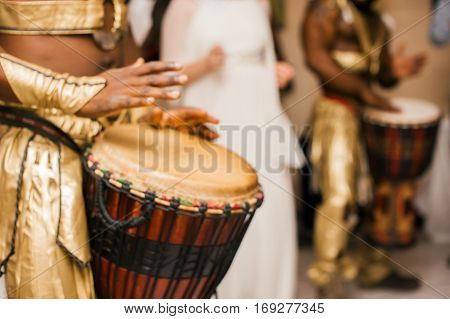 Drummers Pounding Drums, Musicians Hand Closeup, Abstract Blur