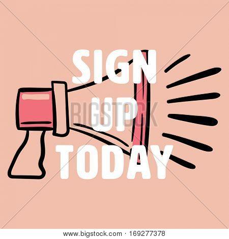 Sign up today against orange background
