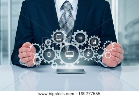 Business technology internet and networking concept. SMM - Social Media Marketing on the virtual display