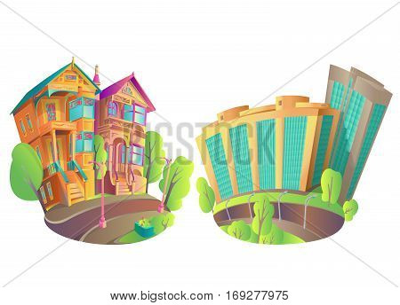 Vector illustration of buildings in the city and in the province. The old Victorian house and the new modern high-rise buildings. Bright Isolated Houses in cartoon style with a piece of street.