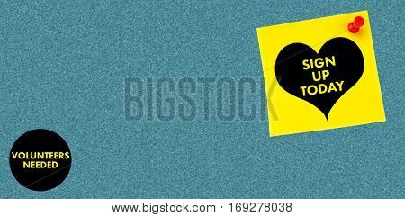 Heart sign up today against digital image of pushpin on yellow paper