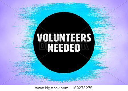 Volunteers needed against purple background