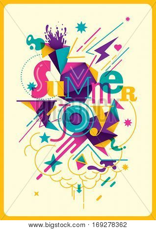 Colorful modish summer poster with abstract composition, made of various shapes and typography. Vector illustration.