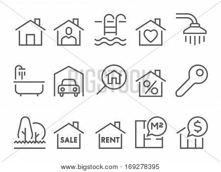 real estate flat thin line icons set