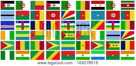 Africa nation flag collection background  .Africa nation flag